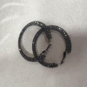 Dark silver with rhinestones ring earrings.